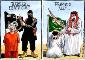 cartoon showing saudi and terrorist head choppers.